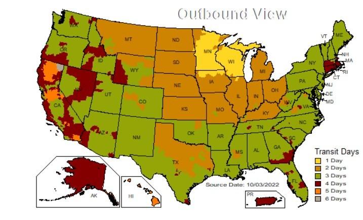 Ups Ground Transit Map UPS Ground Time in Transit Map | Maple Ridge Farms Ups Ground Transit Map