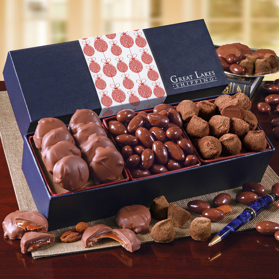 Navy Wrapped Gift Boxes Corporate Gifts Maple Ridge Farms